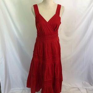 Coldwater Creek Red Tuck Detail Dress Sundress 16